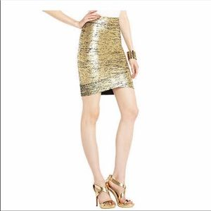 BCBG gold bandage Mini skirt. NWOT